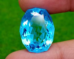 35.65CT PRECISION CUT BLUE TOPAZ BEST QUALITY GEMSTONE IIGC68
