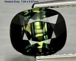 2.39ct Sapphire - Parti-color Blue & Green / Heated / 7.94 x 6.67mm/ Certif