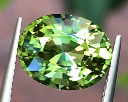 4.25 ct Vivid Green Tourmaline With Excellent Luster And Fine Cutting  Gems