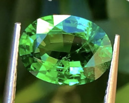 2.44 ct Vivid Green Tsaverite Garnet With Excellent Luster And Fine Cutting