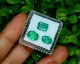 Zambian Emerald 4.11Ct 3Pcs Natural Green Color Emerald Box A0518