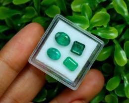 Zambian Emerald 4.00Ct 4Pcs Natural Green Color Emerald Box A0522