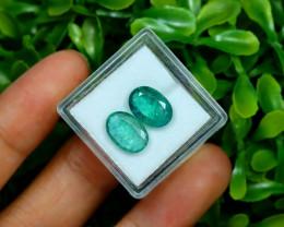 Zambian Emerald 4.18Ct 2Pcs Oval Cut Natural Green Emerald A0530