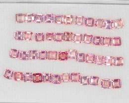 Pink Tourmaline 6.02 Cts 46pcs 3x3mm Asscher Cut Natural