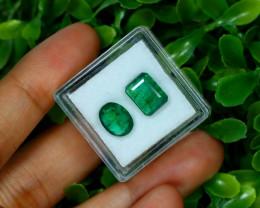 Zambian Emerald 3.68Ct 2Pcs Natural Green Color Emerald A0549
