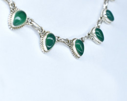 GREEN ONYX NECKLACE NATURAL GEM 925 STERLING SILVER AN76