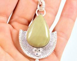 67.0 Tcw. Green Jasper Sterling Silver Pendant - Beautiful