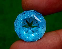 28CT PRECISION CUT BLUE TOPAZ BEST QUALITY GEMSTONE IIGC69