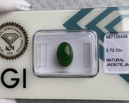 IGI CERTIFIED Jadeite Jade 'A' Grade 2.72ct Green Oval Cabochon Rare Loose