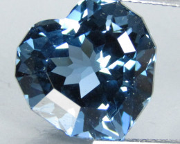 9.55Cts Sparkling Natural London Blue Topaz Heart Shape Custom Cut Loose Ge