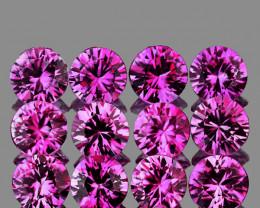 2.60 mm Round 12pcs 1.07ct Unheated Pinkish Purple Sapphire [VVS]