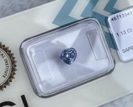 FINE Vivid Violet Blue CEYLON Sapphire 1.13ct Untreated IGI CERTIFIED Heart