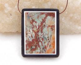 D1910 - 78.5cts Multi-Color Picasso jasper,White Agate,Obsidian Intarsia Pe