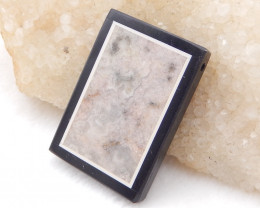 D1912 - 74cts Ocean Jasper,White Agate,Obsidian Intarsia Pendant Bead,Lucky