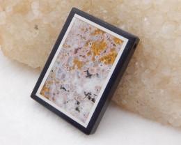 D1913 - 61cts Ocean Jasper,White Agate,Obsidian Intarsia Pendant Bead,Lucky