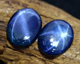 Blue Star Sapphire 8.35Ct 2Pcs Natural 6 Rays Blue Star Sapphire B0642