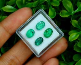 Zambian Emerald 3.75Ct 4Pcs Oval Cut Natural Green Emerald B0653