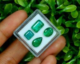 Zambian Emerald 5.32Ct 4Pcs Natural Green Color Emerald B0674