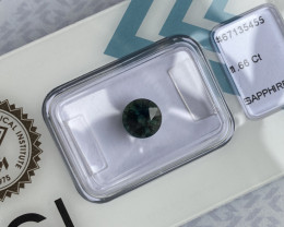 1.66ct Fine Australian DEEP Green Blue Teal Sapphire Round Diamond Cut CERT