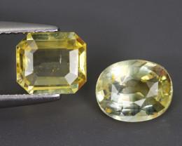 3.770 Cts Yellow Sapphire 2 Pcs 100% Natural Unheated From SriLanka