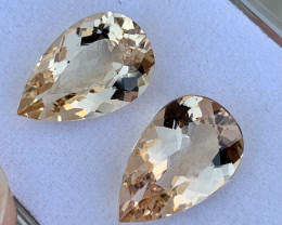 12.94 CTs Morganite Pair Flawless Pieces