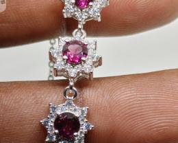 (8) Gorgeous Rhodolite Garnet CZ Bracelet Untreated