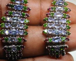 (12) Fascinating 16.52 gr Tanzanite Chrome Diopside Silver Earrings