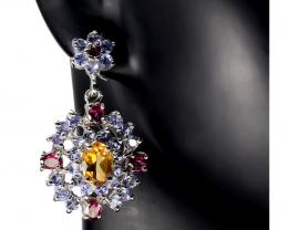 (13) Stupendous 11.17 gr.  Diopside Tanzanite Earrings
