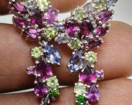 (16) Amazing Nat 10.14 gr. Tanzanite Ruby Garnet And More Earrings