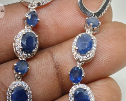 (17) Brilliant  Nat Blue Sapphire Earrings