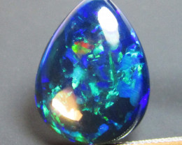 8.520Cts Natural Earth Mined Color Play Black Opal Pear Cabochon Loose Gem