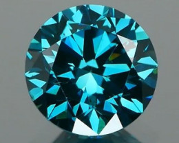 *NR* Teal Blue Diamond Round Brilliant 0.57Ct