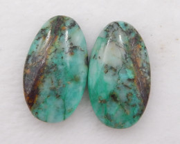 D1933 - 27cts Natural Chrysocolla Gemstone Cabochon Pair,Natural oval Caboc