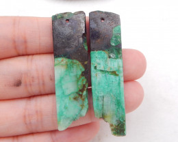 D1934 - 47cts chrysocolla earring beads pair,high quality earrings,natural
