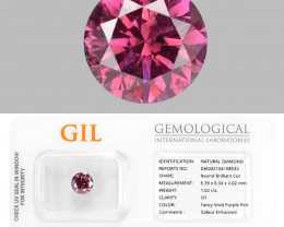 Diamond 1.02 Cts GIL Certified Sparkling Fancy Vivid Purple Pink Natural