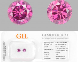 Diamond 0.42 Cts GIL Certified 2pcs Sparkling Fancy Vivid Pink Natural