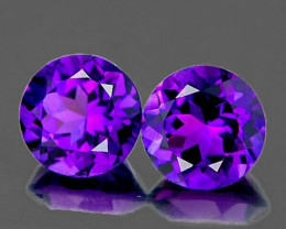 7.00 mm Round 2 pcs 2.38cts Intense Purple Amethyst [VVS]