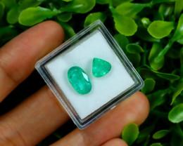 Zambian Emerald 2.74Ct 2Pcs Natural Green Color Emerald C0745