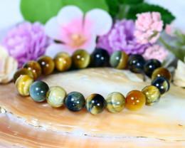 143.00Ct 10mm Natural Tiger Eye Beads Bracelet C0761