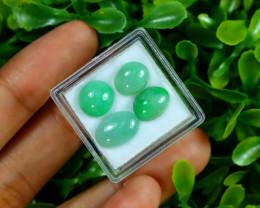 Jadeite Jade 10.42Ct 4Pcs Natural Burmese Apple Green Jadeite Jade C0765