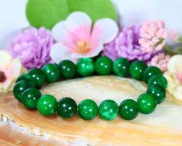 143.00Ct 10.0mm Natural Nephrite Jade Beads Bracelet C0773