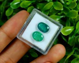 Zambian Emerald 4.43Ct 2Pcs Oval Cut Natural Green Emerald C0774