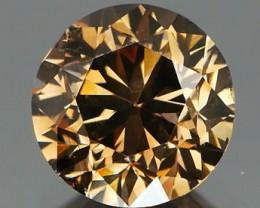 *NR Bidding* Fiery Cognac Diamond Round Brilliant 0.73Ct NO TREATMENT