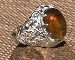Golden Beryl/Heliodor Mens Cabochon Ring Sterling silver