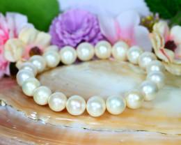 10.0mm 126Ct South Sea Creamy White Pearl Beads Bracelet A0848