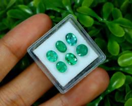 Zambian Emerald 3.38Ct 6Pcs Oval Cut Natural Green Emerald A0866