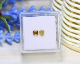 Yellow Diamond 0.55Ct 2Pcs Untreated Genuine Fancy Diamond A0870