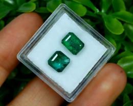 Zambian Emerald 3.20Ct 2Pcs Octagon Cut Natural Green Emerald A0873