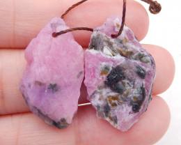D1960 - 31.5cts Nugget Ruby Earrings gemstone earrings beads, Natural Gemst