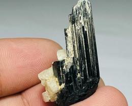 Amazing Natural color Damage free Black Tourmaline with Feldspar 37Cts-P